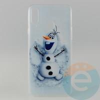 Накладка силиконовая с рисунком для Samsung A20s Снеговик Олаф
