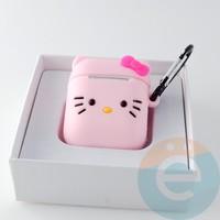 Чехол силиконовый для наушников Apple AirPods 1/2 Hello Kitty розовая