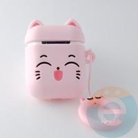 Чехол силиконовый для наушников Apple AirPods 1/2 кошечка розовая