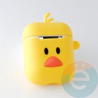 Чехол силиконовый для наушников Apple AirPods 1/2 уточка жёлтая