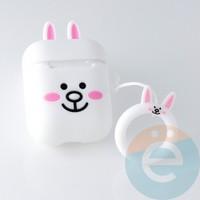 Чехол силиконовый для наушников Apple AirPods Белый кролик