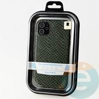 Накладка Kajsa для Apple IPhone 11 змеиная кожа зеленая