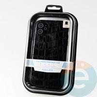Накладка Kajsa для Apple IPhone 11 крокодиловая черная