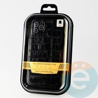 Накладка Kajsa для Apple IPhone 11 Pro Max крокодиловая черная