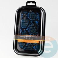Накладка Kajsa для Apple IPhone X/Xs кожа питона синяя
