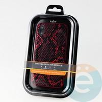 Накладка Kajsa для Apple IPhone X/Xs кожа питона красная