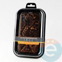 Накладка Kajsa для Apple IPhone X/Xs кожа питона оранжевая