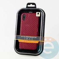 Накладка Kajsa для Apple IPhone X/Xs плетенка бордовая