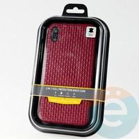 Накладка Kajsa для Apple IPhone Xs Max плетёнка бордовая