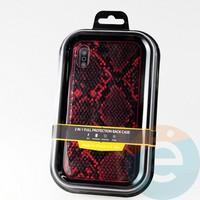Накладка Kajsa для Apple IPhone Xs Max кожа питона красная