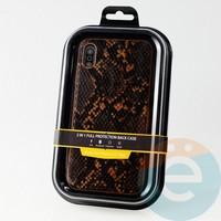 Накладка Kajsa для Apple IPhone Xs Max кожа питона оранжевая