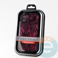 Накладка Kajsa для Apple IPhone XR камуфляж бордовый