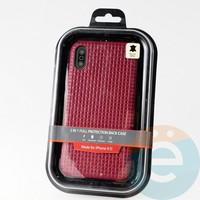 Накладка Kajsa для Apple IPhone XR плетёнка бордовая