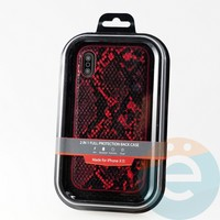 Накладка Kajsa для Apple IPhone XR кожа питона красная