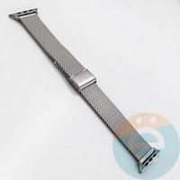 Металлический ремешок Milanese Band толстое плетение для Apple Watch 38 mm серебристый