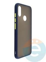 Накладка пластиковая матовая с силиконовой окантовкой для Xiaomi Redmi Note 7 синяя