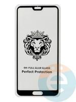 Защитное стекло 5D с полной проклейкой на Huawei P20 Pro чёрное