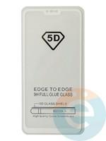 Защитное стекло 5D с полной проклейкой на Xiaomi Mi 8 Lite белое