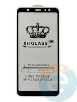 Защитное стекло 5D с полной проклейкой на Samsung Galaxy A6 Plus 2018 чёрное