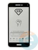 Защитное стекло 5D с полной проклейкой на Huawei Honor 8 lite чёрное