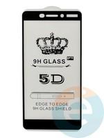 Защитное стекло 5D с полной проклейкой на Nokia 6.1 чёрное