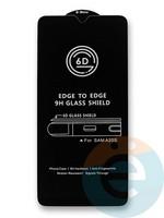 Защитное стекло 6D с полной проклейкой на Samsung Galaxy A20s черное