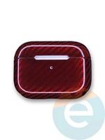 Чехол Carbon Fiber для наушников Apple AirPods Pro красный