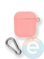 Чехол силиконовый для наушников Apple AirPods 1/2 Cross с карабином Pink
