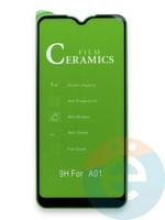 Защитное стекло Ceramics (в упаковке) для Samsung A01 черное