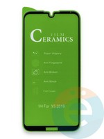 Защитное стекло Ceramics (в упаковке) для Huawei Y5 2019/Honor 8S черное