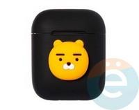 Чехол силиконовый Kakao для наушников Apple AirPods 1/2 медвежонок черный