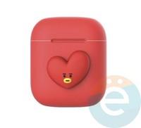 Чехол силиконовый Kakao для наушников Apple AirPods 1/2 сердечко красное