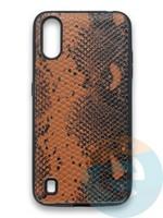 Накладка силиконовая Pitone для Samsung Galaxy A01 коричневая