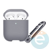 Чехол силиконовый Leather Silicone Hang Case для Apple AirPods 1/2 Gray