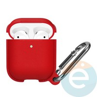 Чехол силиконовый Leather Silicone Hang Case для Apple AirPods 1/2 Red