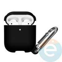 Чехол силиконовый Leather Silicone Hang Case для Apple AirPods 1/2 Black