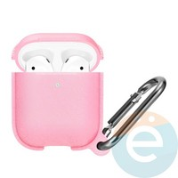 Чехол силиконовый Leather Silicone Hang Case для Apple AirPods 1/2 Pink