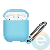 Чехол силиконовый Leather Silicone Hang Case для Apple AirPods 1/2 Sky Blue