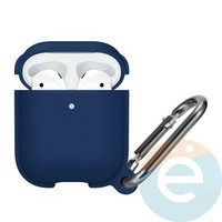 Чехол силиконовый Leather Silicone Hang Case для Apple AirPods 1/2 Dark Blue