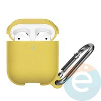 Чехол силиконовый Leather Silicone Hang Case для Apple AirPods 1/2 Yellow