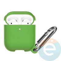 Чехол силиконовый Leather Silicone Hang Case для Apple AirPods 1/2 Green