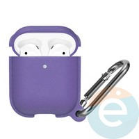 Чехол силиконовый Leather Silicone Hang Case для Apple AirPods 1/2 Light Purple