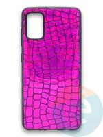 Накладка силиконовая Fantastic Skin блестящая для Samsung Galaxy A41 фиолетовая