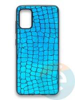 Накладка силиконовая Fantastic Skin блестящая для Samsung Galaxy A41 бирюзовая