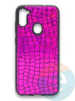Накладка силиконовая Fantastic Skin блестящая для Samsung Galaxy A11 фиолетовая