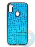 Накладка силиконовая Fantastic Skin блестящая для Samsung Galaxy A11 бирюзовая