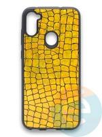 Накладка силиконовая Fantastic Skin блестящая для Samsung Galaxy A11 золотистая