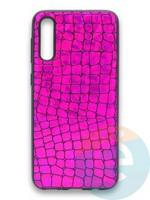 Накладка силиконовая Fantastic Skin блестящая для Samsung Galaxy A50/A30S фиолетовая
