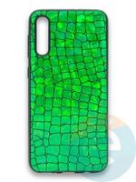 Накладка силиконовая Fantastic Skin блестящая для Samsung Galaxy A50/A30S зеленая