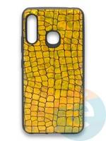 Накладка силиконовая Fantastic Skin блестящая для Samsung Galaxy A70E золотистая